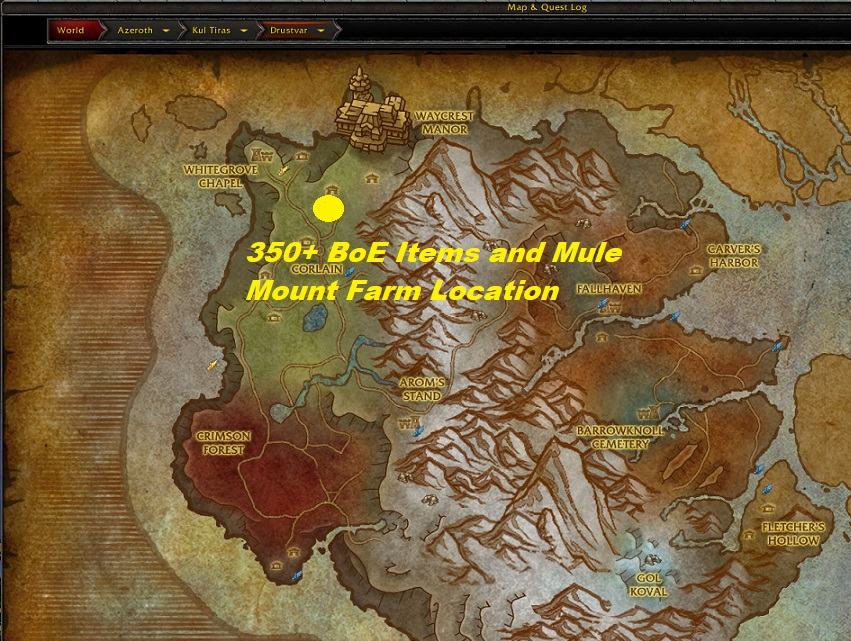 BoE Items and Mount Gold Farming in Drustvar raw gold in bfa gold farming guide in bfa epic mule mount farm guide epic boe farm