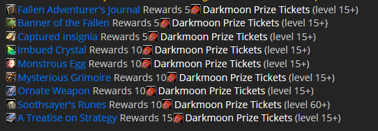 Darkmoon Faire Gold quest items